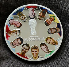 World Cup Russia 2018 Silver Coin Players Mascot Soccer Messi Neymar Muller USSR