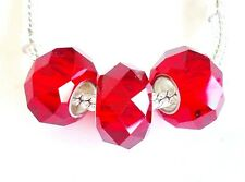 3 pcs European Glass Beads. RED. Large hole fit Charm Bracelet /Necklace G2