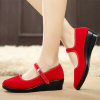 Womens Ladies Mid Wedge Heel Mary Jane Hotel Work Strap Shoes Ballet Cotton