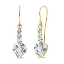 1.58 Ct Heart Shape Sky Blue Aquamarine White Topaz 14k Yellow Gold Earrings