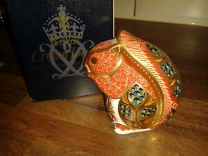 1st QUALITY ROYAL CROWN DERBY RED SQUIRREL + BOX 21st ANNIVERSARY GOLD STOPPER