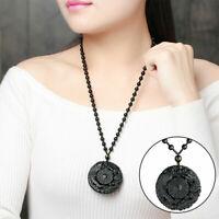 Naturschwarz Obsidian Anhänger Halskette Chinesisch Glück Drachen Amulett S3E7