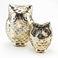 Set of 2 Mercury Glass Owl Tea Light Candle Holders Threshold Table Decor Votive