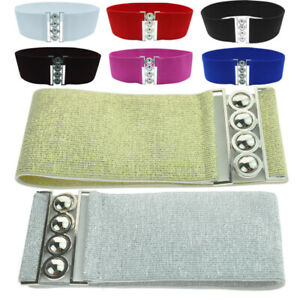 Lady Elastic Stretchy Retro Silver Buckle Wide Style Waist Cinch Belts Waistband