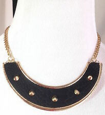 Material Girl Jewelry NWT Crocodile Stud Collar Necklace Gold/Black