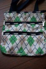 LeSportsac Argyle Diamond Messenger Crossbody Bag Green Beige