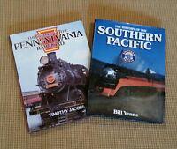 2 Railroad Books: SOUTHERN PACIFIC & Pennsylvania RR, Hardback, Railroad History