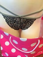 VICTORIA'S SECRET PINK  Large Lace STRAPPY Black/green STRING THONG PANTY NWT