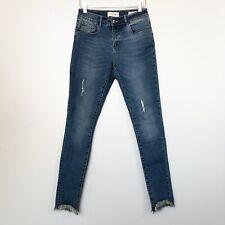 Lola Womens Jeans Blair DSN Mid Rise Skinny Denim Distressed Raw Hem Size 4 28
