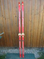"""NICE OLD VINTAGE Wooden 75"""" Snow Skis Has RED Finish and Bindings"""
