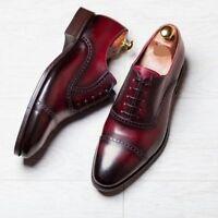 Men's Oxford Two Tone shoes, Burgundy Dress Office Cap Toe Shoes, Handmade Shoe