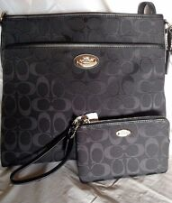 NEW COACH SIGNATURE FILE BLACK PURSE-F36378 & WALLET-F64375