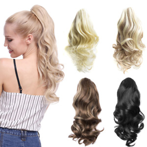 "14"" Hair-Extensions Ponytails Hair Clip On Wavy Ponytails Synthetic Blonde Hair"