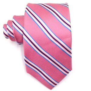 $125 Tommy Hilfiger Men'S Pink Stripe Silk Slim Skinny Neck Tie Necktie 60x3.25