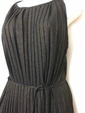 BNWT'RARE LONDON' GRECIAN STYLE PLEATED BLACK LUREX HIGH NECK MAXI DRESS SIZE 14