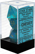 Chessex Borealis Teal w/ Gold Polyhedral 7 Dice Set CHX27486