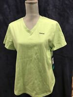 Reebok Womens XL V Neck Green Cotton T Shirt New With Tags