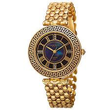 New Women's Akribos XXIV AK808YG Unique Quartz Diamond Markers Gold-tone Watch
