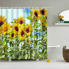 Extra Long Bath Decor Fabric Shower Curtain With 12 Hooks Sunflower Graphic