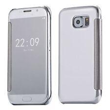Etui Housse Coque Clear View Cover miroir Argenté pour SAMSUNG GALAXY S7 edge