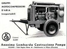 PUBBLICITA'  ANONIMA LOMBARDA COSTRUZIONI POMPE MOTOCOMPRESSORI D'ARIA  KSB 1940