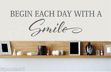 Begin each day with a  SMILE Vinyl Lettering  wall decals word bedbroom sticker