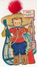 "c1940s Hallmark Royal Canadian Mountie ""John"" Die Cut Card, Feather"