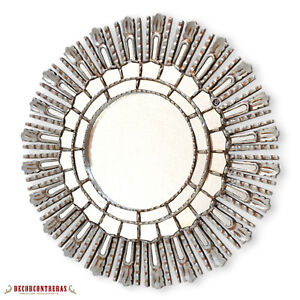 Sunburst Wall Mirror for wall decor, Silver leaf Wood Decorative Mirrors 23.6in