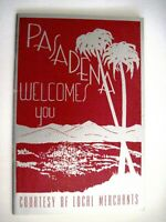 "1940's Gorgeous ""Pasadena Welcomes You"" Booklet w/ Stunning Silver & Red Cover *"