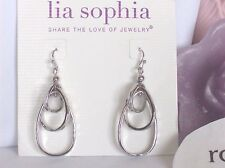 Lia Sophia Free Flyer baumeln oval Tiered Creolen, Silber getönten, NWT
