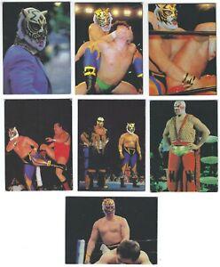 Lot of 7 - 1981 Japanese Marusho Pro Wrestling Mini Cards - Tiger Mask, Luchador