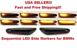 Smoked Lens Dynamic Sequential Amber LED Side Marker Lights For BMW 1 3 5 Series