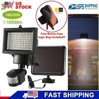 100LED Solar Lights Motion Sensor 1000lm Outdoor Lamp IP65 w/Free Case Logic Bag