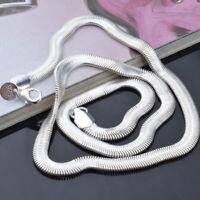 3tlg Schlangenkette Halskette 6mm 925 Versilbert Silber plattiert Schmuck Kette