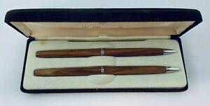 Ladies Wood Pen & Pencil Set Hallmark Vintage in Original Brown Felt Case