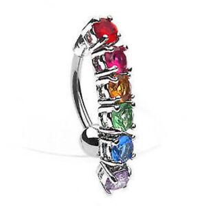 Reverse Rainbow Gem Gay Pride CZ Gem Belly Ring Navel Naval 14g (w45)