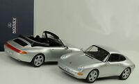 1995 Porsche 911 993 Coupe +  Cabriolet / Set 2 cars silver silber 1:18 Norev