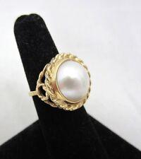 Vintage Mabe Pearl Estate Cocktail Ring 10k Yellow Gold **MAKE OFFER**