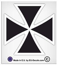 "100mm-4"" Maltese Cross Black White Outline Laminated Decal Sticker Gothic bikers"