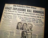 Great PORT CHICAGO California Naval Munitions EXPLOSION Disaster 1944 Newspaper