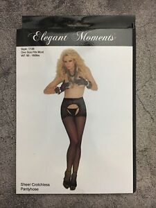 Elegant Moments Sheer Black Crotchless Pantyhose Brand New Free Shipping