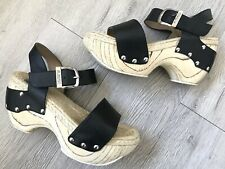 John Fluevog Clogs Mountain Rushmore Buckle Black Sandals Wedge Ankle Heels Sz 8
