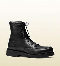 3ab40c12b5f9  880 New Gucci Mens Leather Lace-up Boot w Interlocking G Black 352955 1000