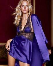 Sexy Chic Blue Silky Satin Robe W Chemise Slip Lingerie Set Honey Pajamas Party