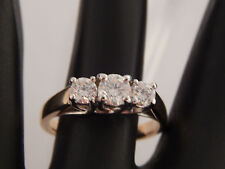 1.0 tcw 3 stone Round Diamond Ring Past, Present, Future G/SI 14k Gold Magic Glo