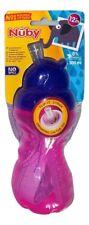 Nûby Becher/Trinkbecher mit Trinkhalm tropffrei 300 ml pink/blau ab 12 Monate