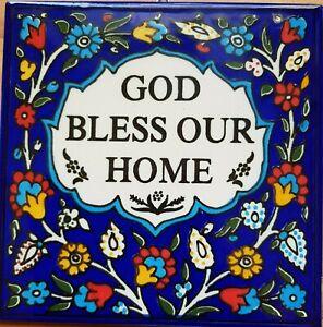 Bluenoemi Armenian Ceramic Jewish gift God Bless our Home Sign English