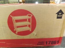 STAPLES 3-SHELF PLASTIC UTILITY CART WITH WHEELS GREY MODEL 17861
