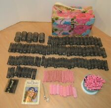Vtg Lot 200+ HAIR ROLLERS Spring Mesh/Plastic Curlers BOBBY PINS CLIP PICKS CASE