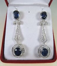 7.48 CTW BLUE & WHITE SAPPHIRE EARRINGS - WHITE GOLD over 925 SILVER